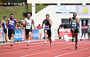 Jeremy Lelievre (FRA), Zach Ziemek (USA), Kevin Mayer (USA) and Pierce LePage (CAN) run in the 100m during the decathlon at the DecaStar meeting, Friday, June 22, 2019, in Talence, France. (Jiro Mochizuki/Image of Sport)