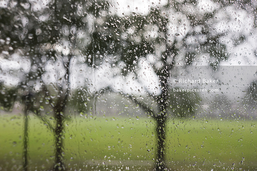 Raindrops on a pane of window glass with an urban park background.