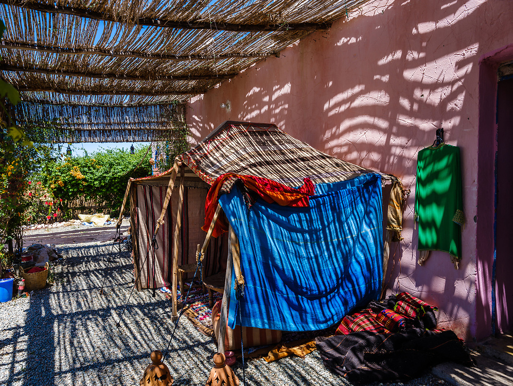 DOUAR OULAD DRISS, MOROCCO - CIRCA MAY 2018:  Cafe and rest stop close to the Douar Oulad Driss village over the Route Regionale 207 in Morocco