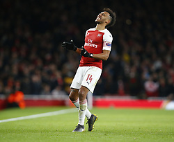 March 14, 2019 - London, England, United Kingdom - Pierre-Emerick Aubameyang of Arsenal.during Europa League Round of 16 2nd Leg  between Arsenal and Rennes at Emirates stadium , London, England on 14 Mar 2019. (Credit Image: © Action Foto Sport/NurPhoto via ZUMA Press)
