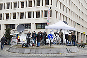 Brussels 23 March 2016 journalist and press gathered on a roundabout near the berlaymont building