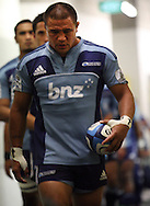 Kevin Mealamu leads the Blues onto the pitch. Super Rugby - Hurricanes v Blues at Westpac Stadium, Wellington, New Zealand on Friday 6th May 2011. PHOTO: Grant Down / photosport.co.nz