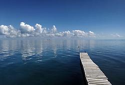Boardwalk, Caribbean sea near cayo Iguana, Cuba. Sky scenic, clouds.