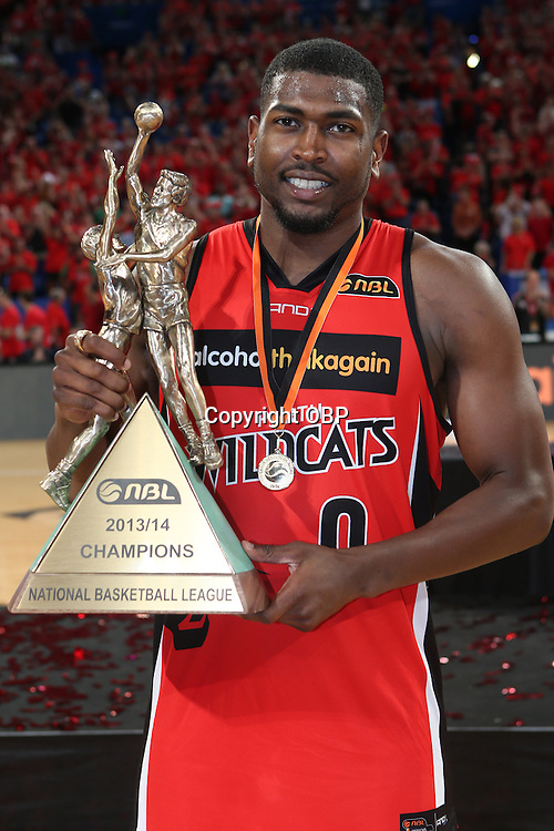 Wildcats Jermaine Beal with the Larry Sengstock medal and  the championship. Perth Wildcats Vs Adelaide 36ers, NBL Basketball, Perth Arena, PERTH, Western Australia. Sunday, 13 April, 2014. Photo: Travis Hayto / photosport.co.nz