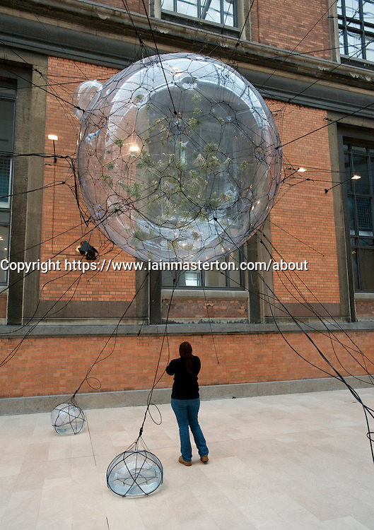 Modern art sculptures displaying fragile eco-system on Earth by Tomas Saraceno at tatens Museum for Kunst or Royal Museum of Fine Arts in Copenhagen Denmark