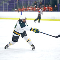 3rd year defender, Kaitlyn Crowe (16) of the Regina Cougars during the Women's Hockey Home Game on Sat Feb 02 at The Co-operators Arena. Credit: Arthur Ward/Arthur Images