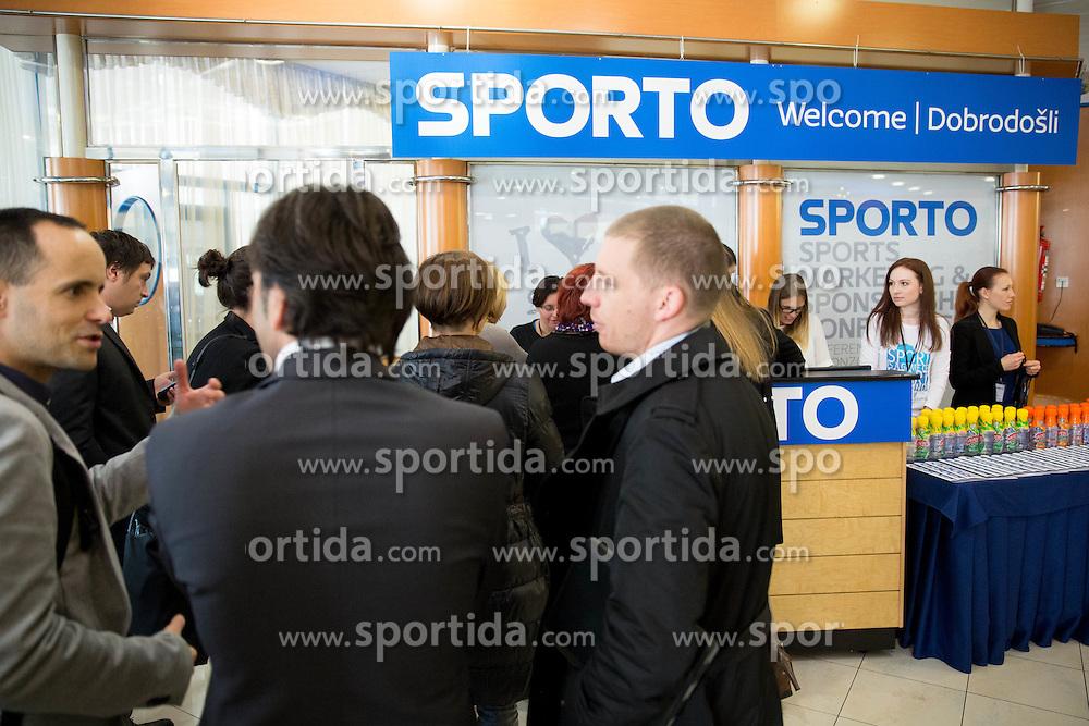 Welcome desk at sports marketing and sponsorship conference Sporto 2014, on November 20, 2014 in Hotel Slovenija, Congress centre, Portoroz / Portorose, Slovenia. Photo by Vid Ponikvar / Sportida