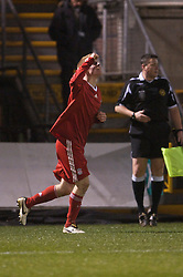 BRISTOL, ENGLAND - Thursday, January 15, 2009: Liverpool's Lauri Dalla Valle celebrates scoring the opening goal against Bristol Rovers during the FA Youth Cup match at the Memorial Stadium. (Mandatory credit: David Rawcliffe/Propaganda)