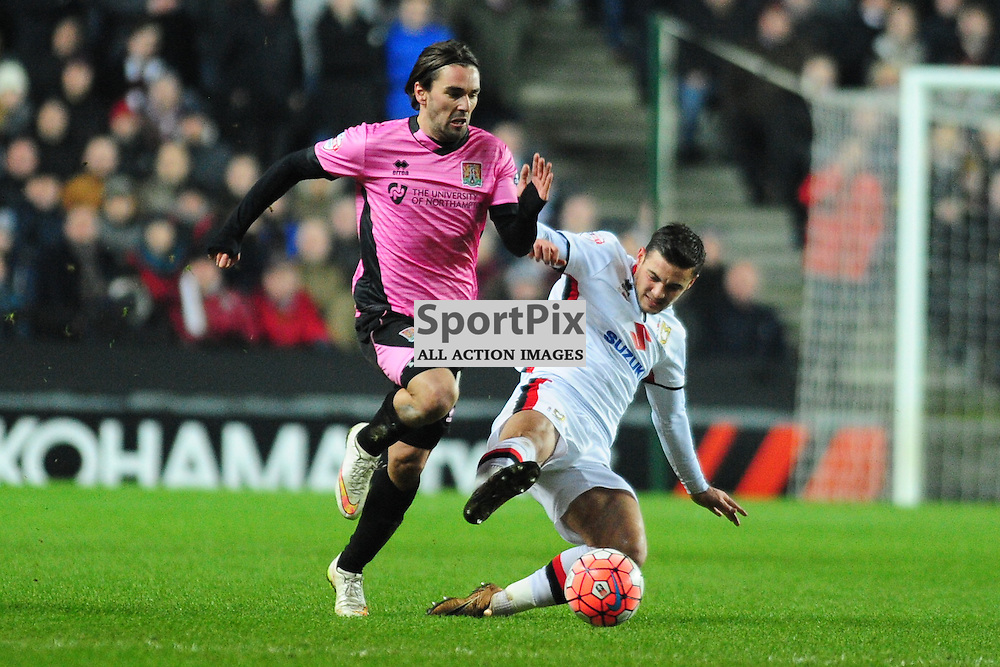 NORTHAMPTONS RICKY HOLMES  BEATS MK DONS DEFENCE, MK Dons v Northampton Town, FA Cup Emirates FA Cup Third round Repay, Stadium MK, Tuesday 19th January 2016