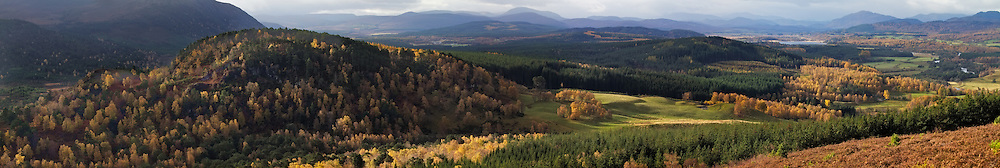 Panoramic view of the Caringorms National Park in Autumn, Scotland.