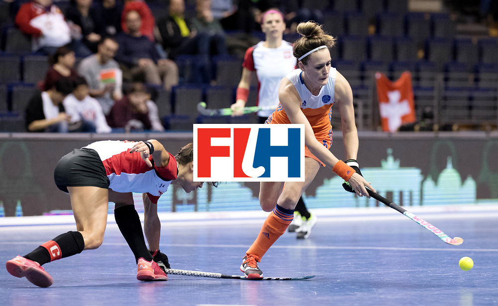 BERLIN - Indoor Hockey World Cup<br /> Women: Poland - Netherlands<br /> foto: Donja Zwinkels and Marlene Rybacha.<br /> WORLDSPORTPICS COPYRIGHT FRANK UIJLENBROEK