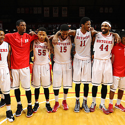 Rutgers men's basketball celebrate their 71-66 victory over the Temple Owls in American Athletic Conference play on Jan. 1, 2014 at Rutgers Louis Brown Athletic Center in Piscataway, New Jersey.