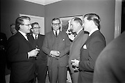 "24/03/1966<br /> 03/24/1966<br /> 24 March 1966<br /> Reception at the Shelbourne Hotel for speakers at the Symposium on ""Shock"" sponsored by Pharmacia International held at UCD. Image shows (l-r): Dr Douglas Thornes (Richmond Hospital); Dr E. Schynagyl, Medical Director, Pharmacia Sweden; Dr H. Hint, M.D., Sweden; Dr Liam G. O'Connell, M.B.MSc. and Mr Liam Porter, Manager, Pharmaceutical Division, Goodbodys Ltd. chatting at the reception."