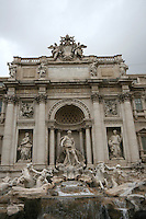 The Baroque Trevi Fountain in Rome Italy