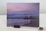 Photo greeting card with pink sunset, Santa Monica beach, Ferris Wheel, pier, reflections, California, purple sky, West LA card, paper goods, Los Angles, Southern CA.