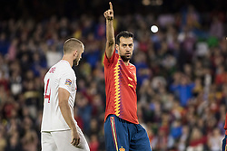 October 15, 2018 - Seville, Spain - BUSQUETS of Spain (R ) in action during the UEFA Nations League Group A4 soccer match between Spain and England at the Benito Villamarin Stadium (Credit Image: © Daniel Gonzalez Acuna/ZUMA Wire)