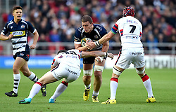 Doncaster Knights Outside Centre Mat Clark tackles Bristol Rugby Lock Ian Evans - Mandatory byline: Joe Meredith/JMP - 25/05/2016 - RUGBY UNION - Ashton Gate Stadium - Bristol, England - Bristol Rugby v Doncaster Knights - Greene King IPA Championship Play Off FINAL 2nd Leg.
