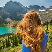 Looking over Lake Josephine and Grinnell Glacier along the Grinnell Glacier trail in Glacier National Park, Montana.