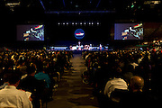 """DENVER, CO - MAY 7: Sister Johanna Paruch delivers a title talk called """"Come Holy Spirit, Fill the Hearts of the Faithful"""" during the Sealed and Sent confirmation event at the Denver Coliseum on May 7, 2016, in Denver, Colorado. (Photo by Daniel Petty/Archdiocese of Denver)"""