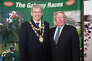 At the launch of The Galway Races summer festival 2015 was Mayor of Galway City Cllr. Frank FahyJohn Moloney  Galway Race Course Manager . The launch was held at the Radisson blu Galway  .Photo:Andrew Downes:XPOSURE