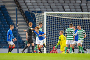 Nathan Young-Coombes (#9) of Rangers FC runs away to celebrate after scoring the winning goal during the Scottish FA Youth Cup Final match between Celtic and Rangers at Hampden Park, Glasgow, United Kingdom on 25 April 2019.