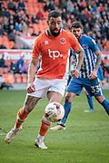 Kyle Vassell (Blackpool) collects the ball on the edge of the Hartlepool United penalty box during the EFL Sky Bet League 2 match between Blackpool and Hartlepool United at Bloomfield Road, Blackpool, England on 25 March 2017. Photo by Mark P Doherty.