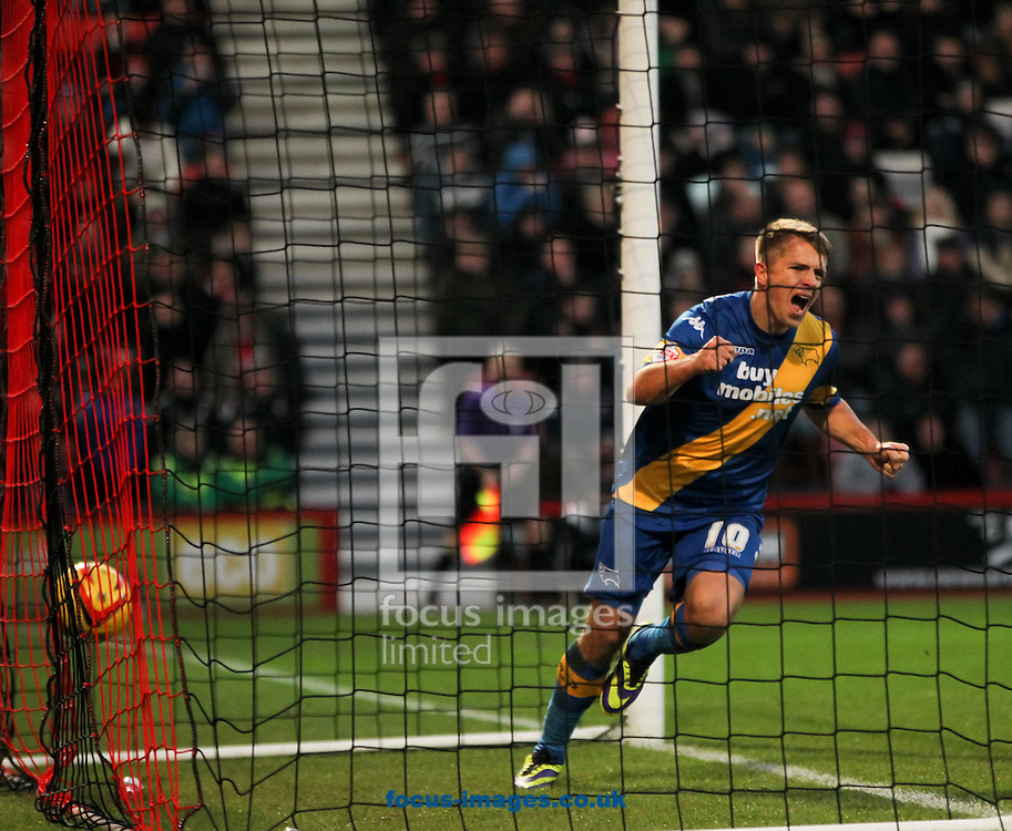 Picture by Tom Smith/Focus Images Ltd 07545141164<br /> 23/11/2013<br /> Jamie Ward of Derby County celebrates scoring the opening goal during the Sky Bet Championship match at the Seward Stadium, Bournemouth.