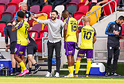 Huddersfield Town Head Coach Carlos Coberan instructs his players during the water break during the EFL Sky Bet Championship match between Brentford and Huddersfield Town at Brentford Community Stadium, Brentford, England on 19 September 2020.