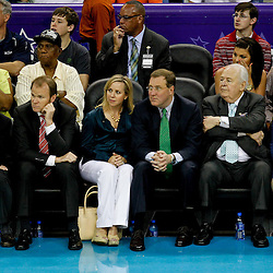 April 15, 2012; New Orleans, LA, USA; New Orleans Hornets newly named owner Tom Benson with his wife Gayle along with (right to left) Saints, Executive Vice President/Chief Financial Officer Dennis Lauscha his wife Jennifer, Hornets president Hugh Weber and NBA governor Jac Sperling watch courtside during the first quarter of a game against the Memphis Grizzlies at the New Orleans Arena.   Mandatory Credit: Derick E. Hingle-US PRESSWIRE