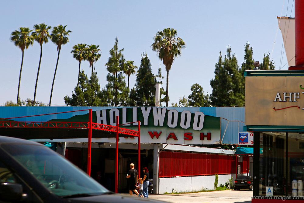 USA, California, Los Angeles. Hollywood Car Wash on Hollywood Boulevard.