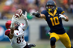 BERKELEY, CA - SEPTEMBER 12:  Wide receiver Mikah Holder #85 of the San Diego State Aztecs dives for but is unable to catch a pass past cornerback Caleb Coleman #10 of the California Golden Bears during the second quarter at California Memorial Stadium on September 12, 2015 in Berkeley, California. The California Golden Bears defeated the San Diego State Aztecs 35-7. (Photo by Jason O. Watson/Getty Images) *** Local Caption *** Mikah Holder; Caleb Coleman