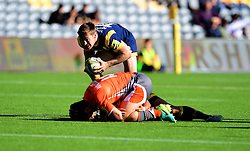 Tom Heathcote of Worcester Warriors breaks free to set up a try for Wynand Olivier of Worcester Warriors  - Mandatory by-line: Joe Meredith/JMP - 02/10/2016 - RUGBY - Sixways Stadium - Worcester, England - Worcester Warriors v Newcastle Falcons - Aviva Premiership