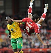 Bristol - Saturday, October 18th, 2008: Liam Fontaine of Bristol City and Leroy Lita of Norwich City during the Coca Cola Championship match at Ashton Gate, Bristol. (Pic by Alex Broadway/Focus Images)