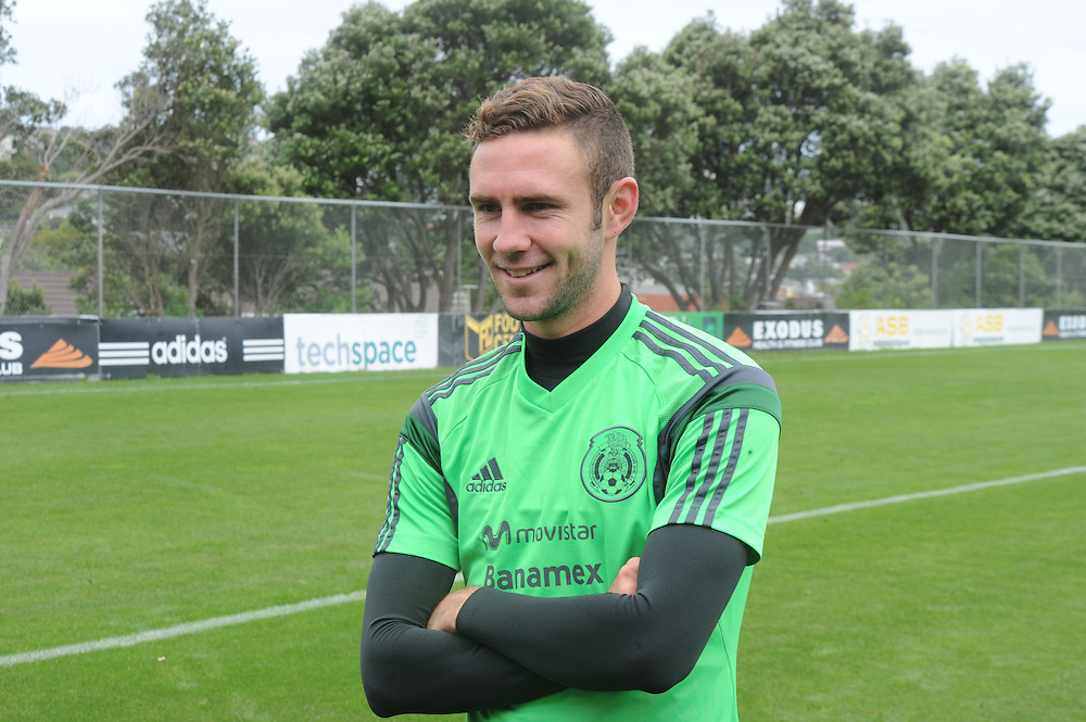 Mexico Footballer Miguel Layun at the teams first training run at Dave Farrington Park, Miramar after their arrival for the FIFA World Cup qualifier match against New Zealand on Wednesday, Wellington, New Zealand, Sunday, November 17, 2013. Credit:SNPA / Ross Setford