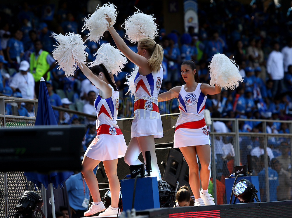 Cheer Girls during match 22 of the Pepsi Indian Premier League Season 2014 between the Mumbai Indians and the Kings XI Punjab held at the Wankhede Cricket Stadium, Mumbai, India on the 3rd May  2014<br /> <br /> Photo by Sandeep Shetty / IPL / SPORTZPICS<br /> <br /> <br /> <br /> Image use subject to terms and conditions which can be found here:  http://sportzpics.photoshelter.com/gallery/Pepsi-IPL-Image-terms-and-conditions/G00004VW1IVJ.gB0/C0000TScjhBM6ikg