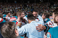 KELOWNA, CANADA - MAY 13: Josh Morrissey #27, Madison Bowey #4 and Tyrell Goulbourne #12 of Kelowna Rockets celebrate the WHL championship win against the Brandon Wheat Kings on May 13, 2015 during game 4 of the WHL final series at Prospera Place in Kelowna, British Columbia, Canada.  (Photo by Marissa Baecker/Shoot the Breeze)  *** Local Caption *** Madison Bowey; Tyrell Goulbourne; Josh Morrissey;
