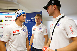 Bostjan Kline, Andrej Krizaj and Gasper Markic during press conference of Slovenian Men Alpine Ski Team, on August 22, 2011, in SZS, Ljubljana, Slovenia. (Photo by Vid Ponikvar / Sportida)