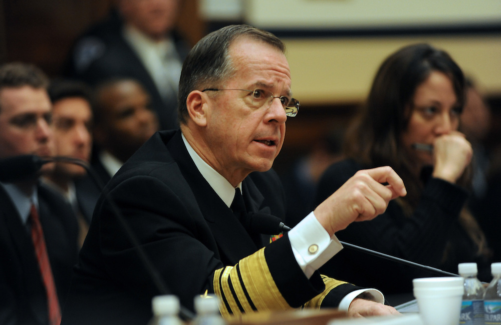Washington, D.C.- Adm. Mike Mullen, chairman of the Joint Chiefs of Staff, testifies before the House Armed Services Committee about President Obama's proposed fiscal 2011 budget on Feb. 2, 2009. (Amanda Lucidon/For The New York Times) .