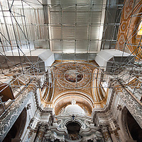 A general view of the special scaffolding built inside the Church of the Gesuiti.Several major restoration works are being carried out in this period in Venice, the go to a complete refurbishment of the famous Gritti Palace Hotel, to transformation into a luxury VIP 7 stars hotel of XV century Palazzo Papadopoli to the restoration of the Church of the Gesuiti