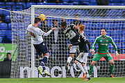 Bolton Wanderers striker Gary Madine  with header  during the Sky Bet Championship match between Bolton Wanderers and Brentford at the Macron Stadium, Bolton, England on 30 November 2015. Photo by Simon Davies.