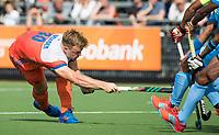 WAALWIJK -  RABO SUPER SERIE . strafcorner Mink van der Weerden (Ned)   tijdens  de hockeyinterland heren  Nederland-India (3-4),  ter voorbereiding van het EK,  dat vrijdag 18/8 begint.  COPYRIGHT KOEN SUYK