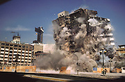 Explosive demolition of the Regis Block, a building in Mexico City that was damaged by an earthquake. Demolition by the USA company called Controlled Demolition, Inc, run by three generations of Loizeaux family. Mexico City, Mexico.