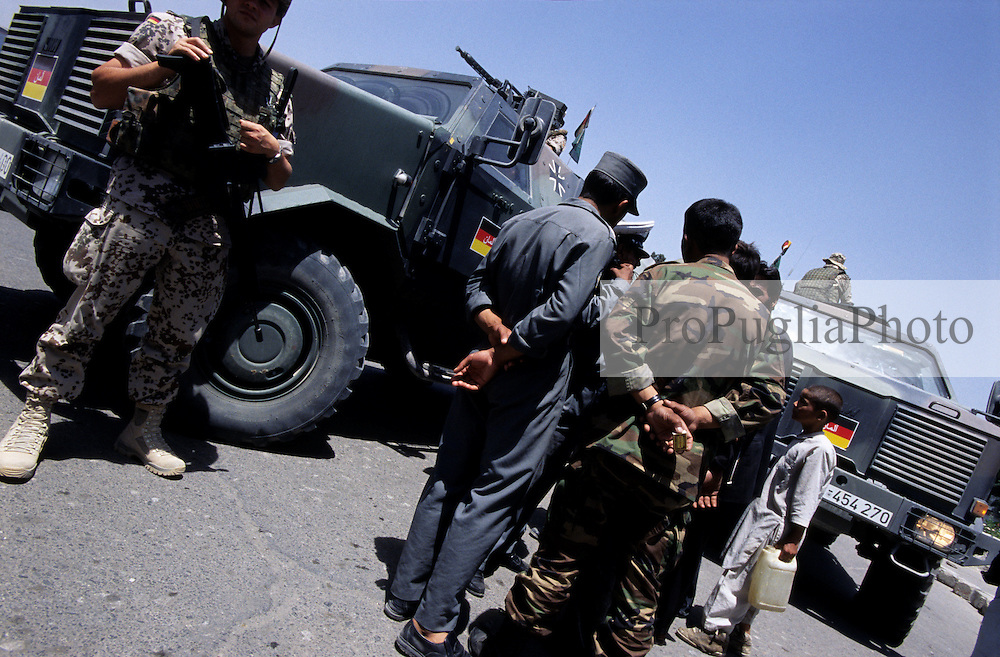 Afghanistan, 21 July 2005..German troops patrolling the streets of Kabul.