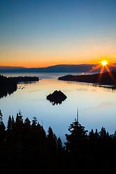 """Emerald Bay Sunrise 15"" - Photograph of a sunburst and Lake Tahoe's Emerald Bay shot at sunrise."
