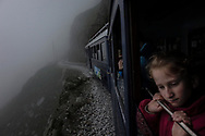 On the Tramway du Mont Blanc. a rack-railway train, climbing to the Nid d'Aigle, alt 2380m. July 2016
