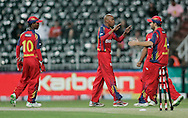 Lions playrs celebrates during match 18 of the Airtel CLT20 held between the Lions and Royal Challengers Bangalore at The Wanderers Stadium in Johannesburg on the 19 September 2010..Photo by: Abbey Sebetha/SPORTZPICS/CLT20