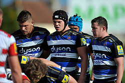 The Bath forwards pack down for a scrum - Mandatory byline: Patrick Khachfe/JMP - 07966 386802 - 13/09/2015 - RUGBY UNION - Memorial Stadium - Bristol, England - Gloucester Rugby v Bath Rugby - West Country Challenge Cup.