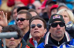 27.01.2013, Ganslernhang, Kitzbuehel, AUT, FIS Weltcup Ski Alpin, Slalom, Herren, im Bild Arnold Schwarzenegger (Hollywood Star, Politiker) // Arnold Schwarzenegger (Actor) during mens Slalom of the FIS Ski Alpine World Cup at the Ganslernhang course, Kitzbuehel, Austria on 2013/01/27. EXPA Pictures © 2013, PhotoCredit: EXPA/ Johann Groder