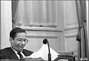 Nederland, Den Haag, 16-10-1988De plenaire vergaderzaal van de oude tweede, 2e kamer. Minister Wim Deetman, cda, van onderwijs tijdens de behandeling van zijn begroting. Kabinet Lubbers 2Foto: Flip Franssen/Hollandse Hoogte