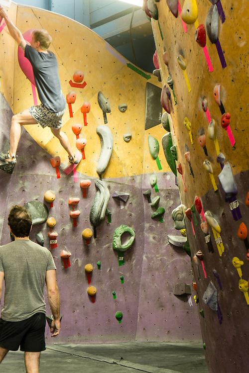 Climbers at Brooklyn Boulders, in Brooklyn's Gowanus neighborhood.